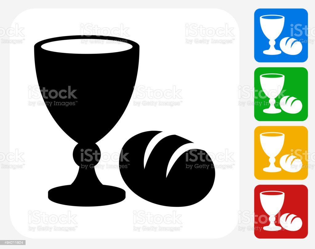 Goblet and Bread Icon Flat Graphic Design vector art illustration