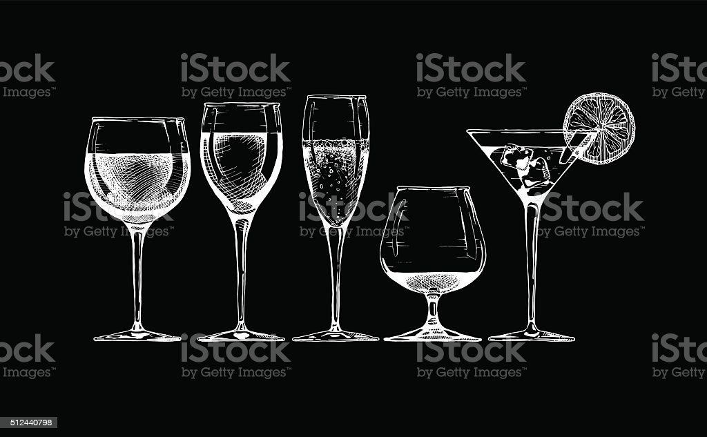 goblet set vector art illustration