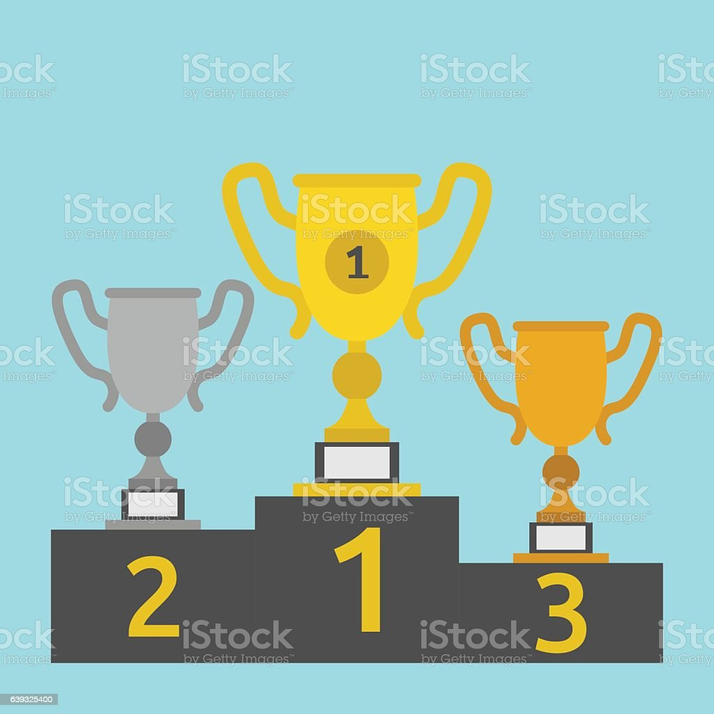 Goblets on victory pedestal vector art illustration