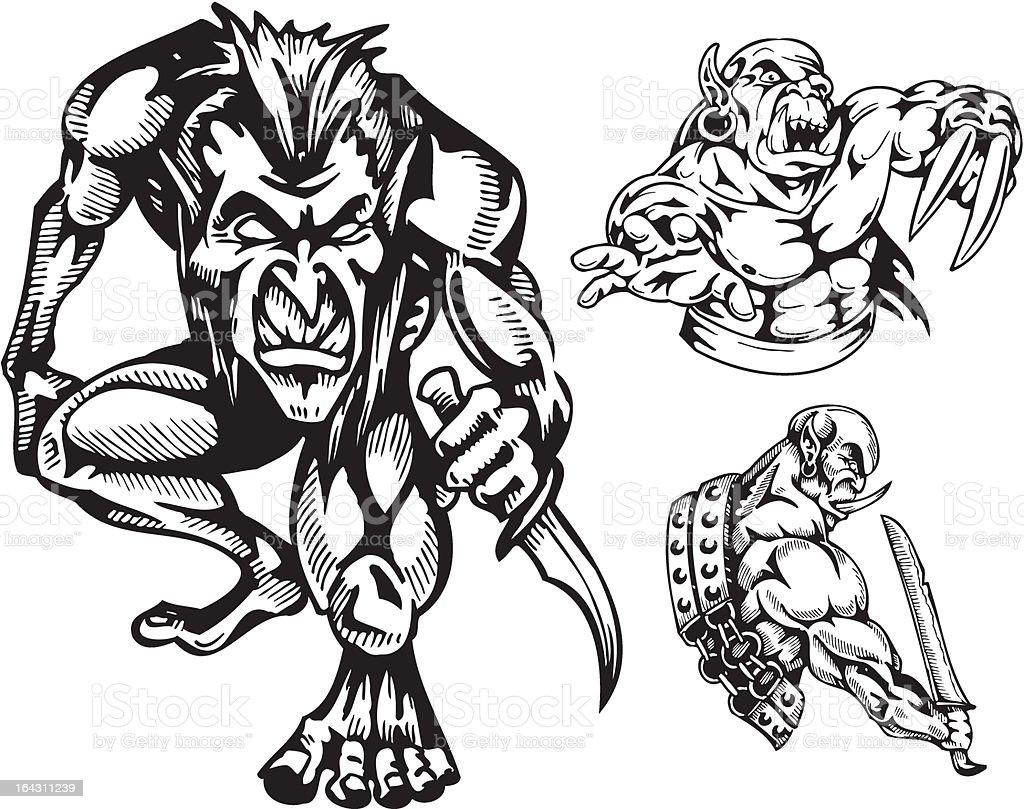 Goblins. Vector illustration ready for vinyl cutting. royalty-free stock vector art