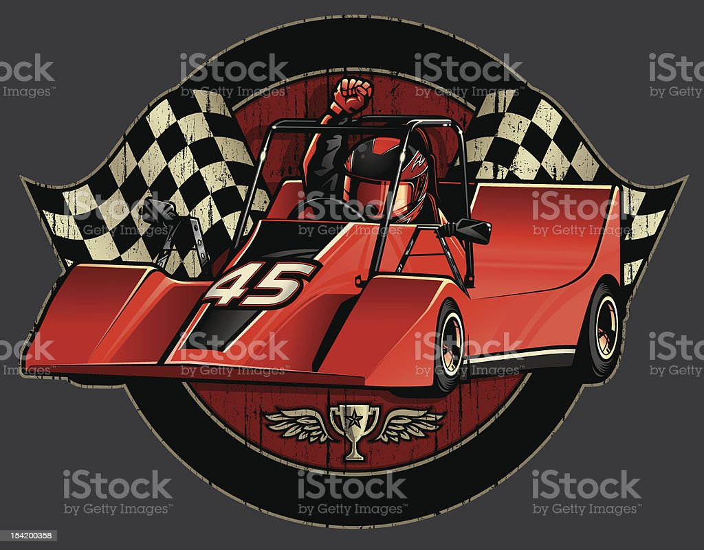 Go-Cart Racing Champion Crest with Checkered Flags vector art illustration