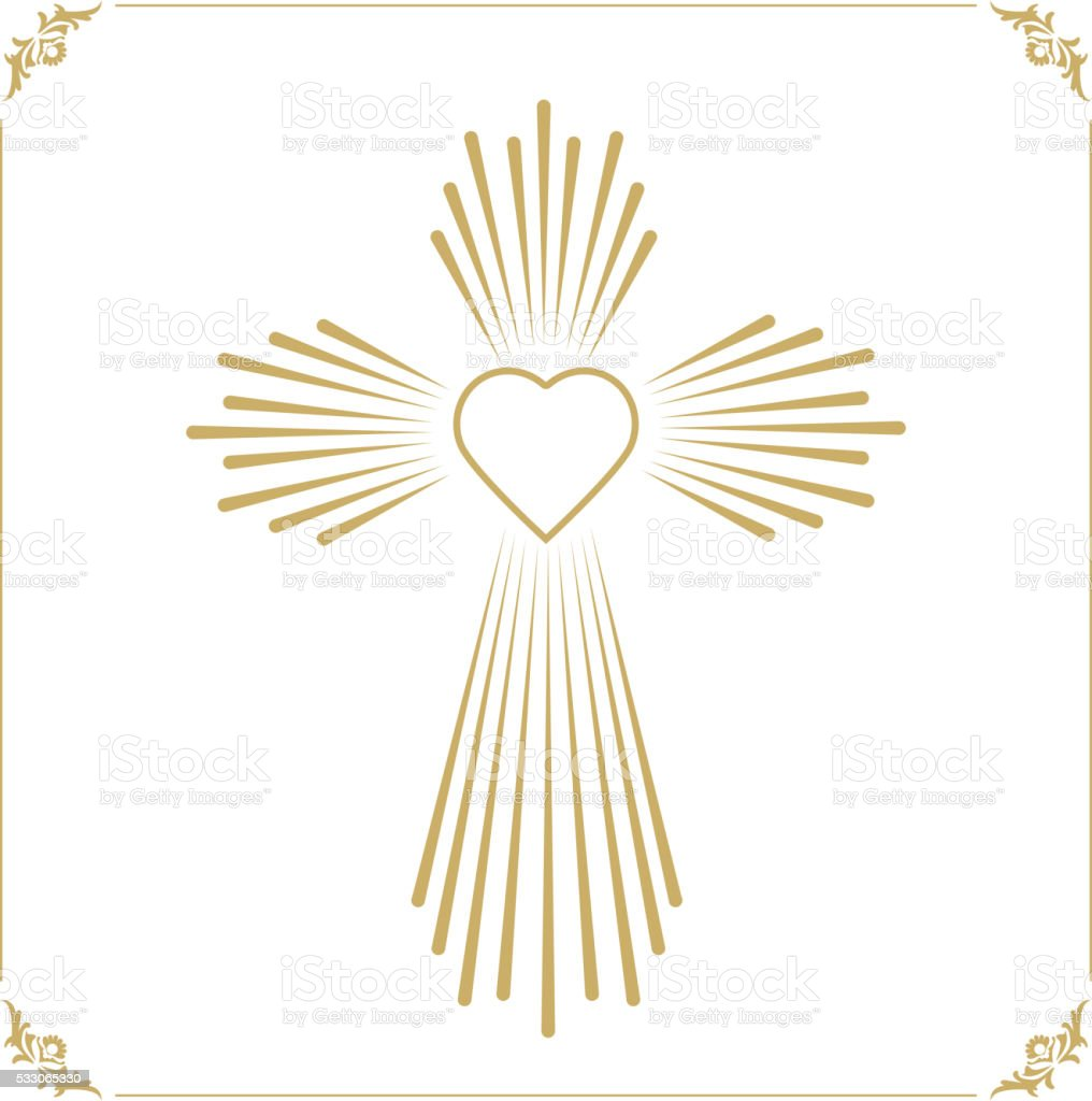 God is love. Cross with the heart shape. vector art illustration
