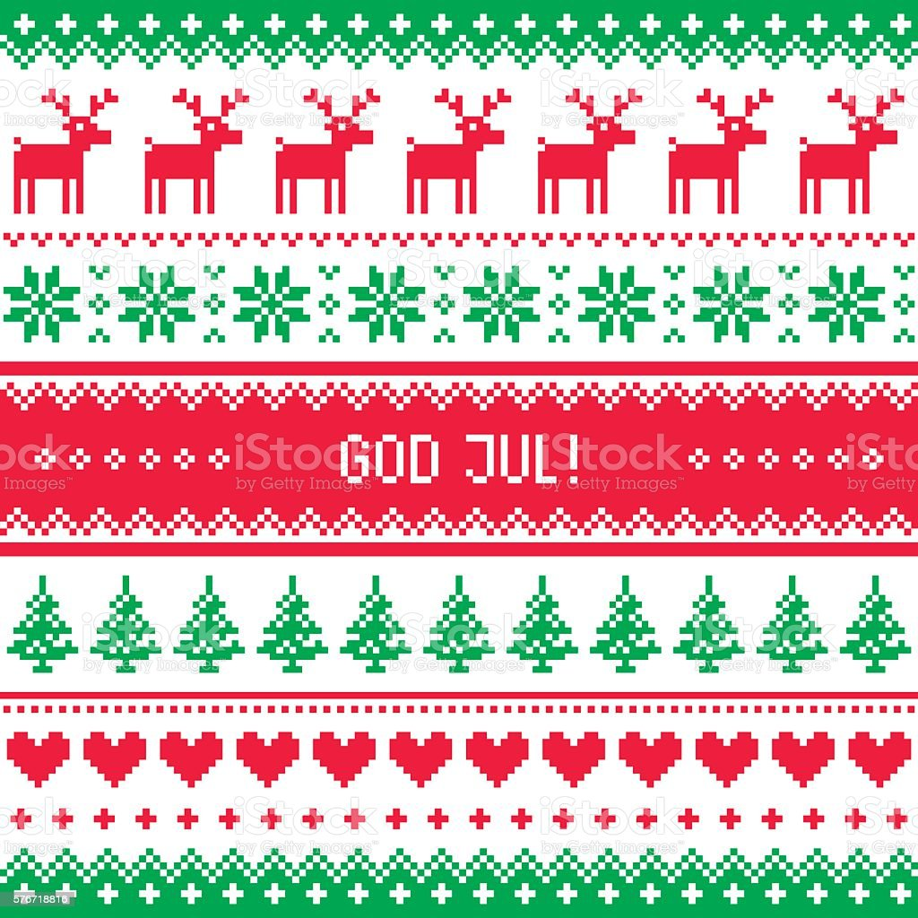 God Jul - Merry Christmas in Swedish, Danish or Norwegian vector art illustration