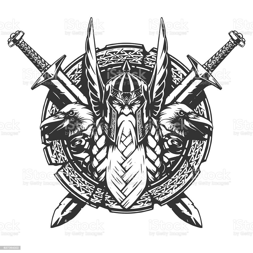 God Odin illustration tattoo style vector art illustration