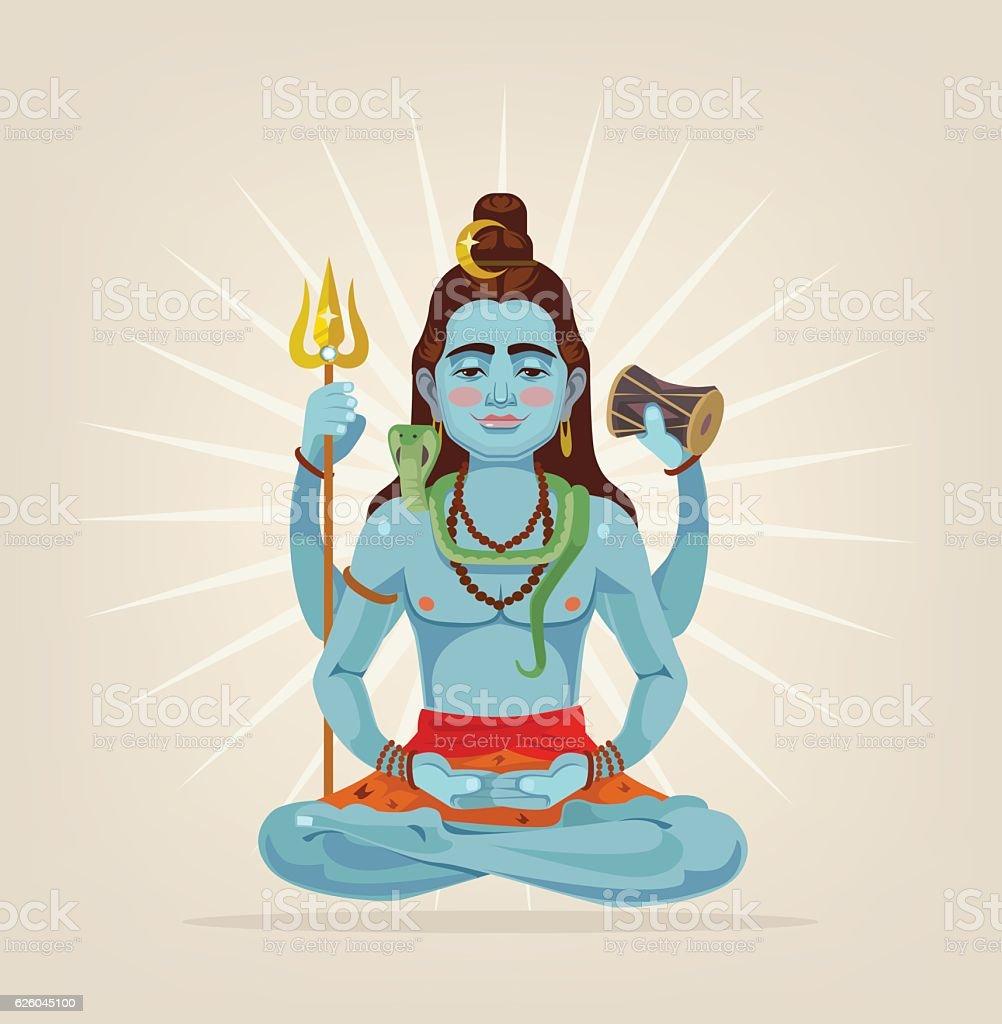 God Shiva character sitting in lotus position vector art illustration