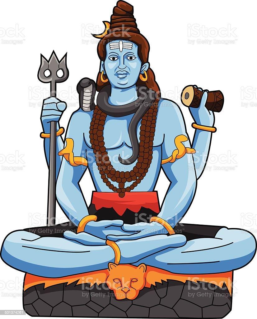 God Shiva vector art illustration