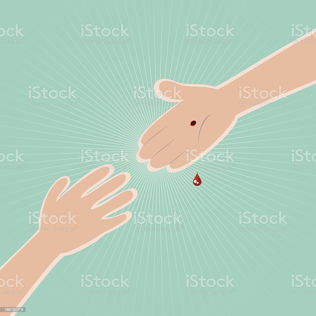 God Stretches Us A Helping Hand vector art illustration