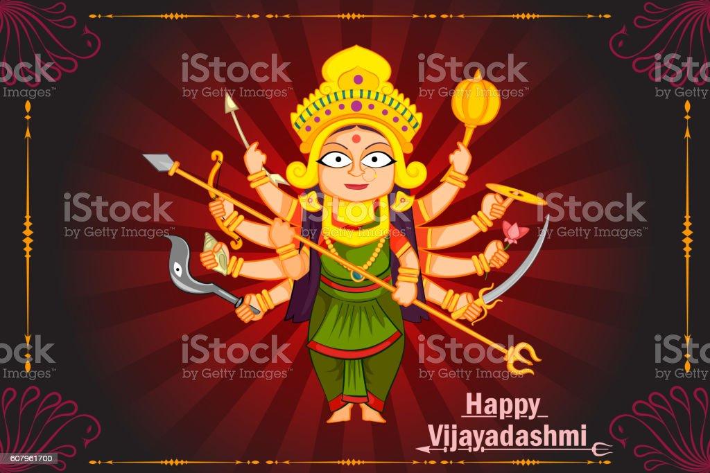 Goddess Durga for Happy Dussehra vector art illustration