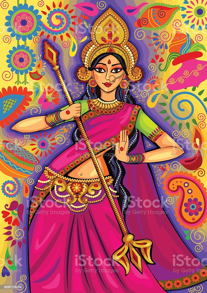 Goddess Durga in floral  Puja Dussehra background vector art illustration