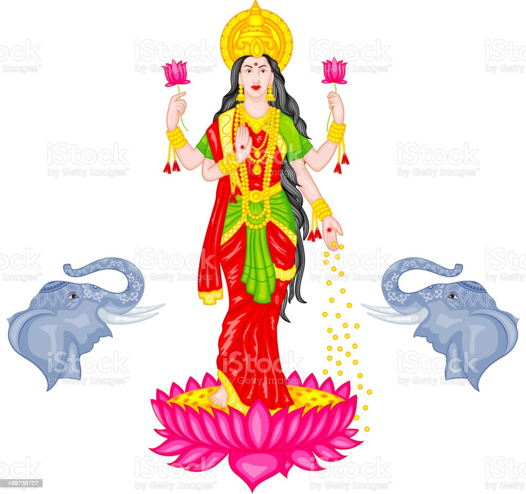 Goddess Lakshmi vector art illustration