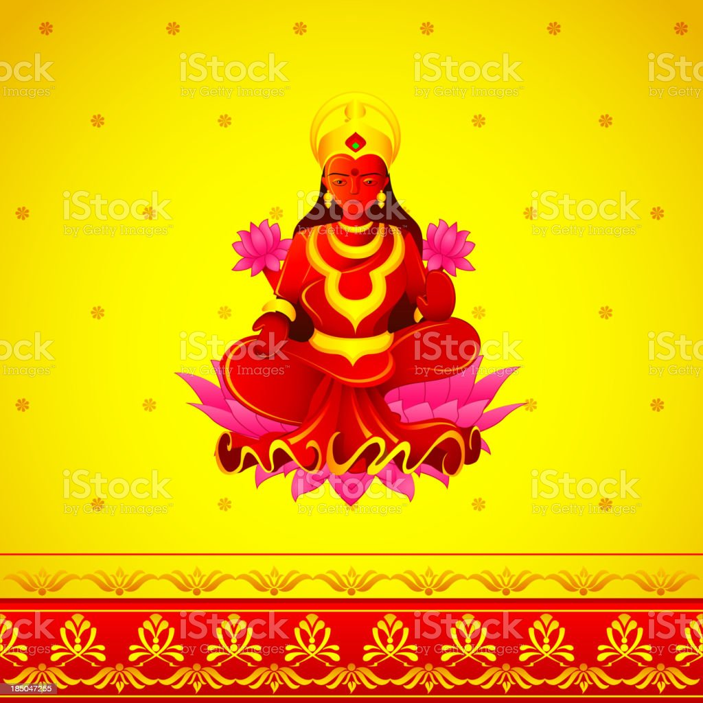 Godess Lakshmi in Diwali vector art illustration