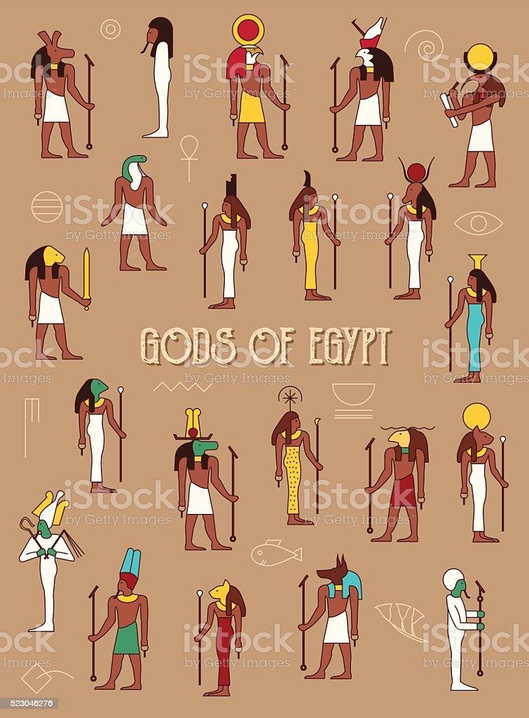 Gods of Egypt vector art illustration