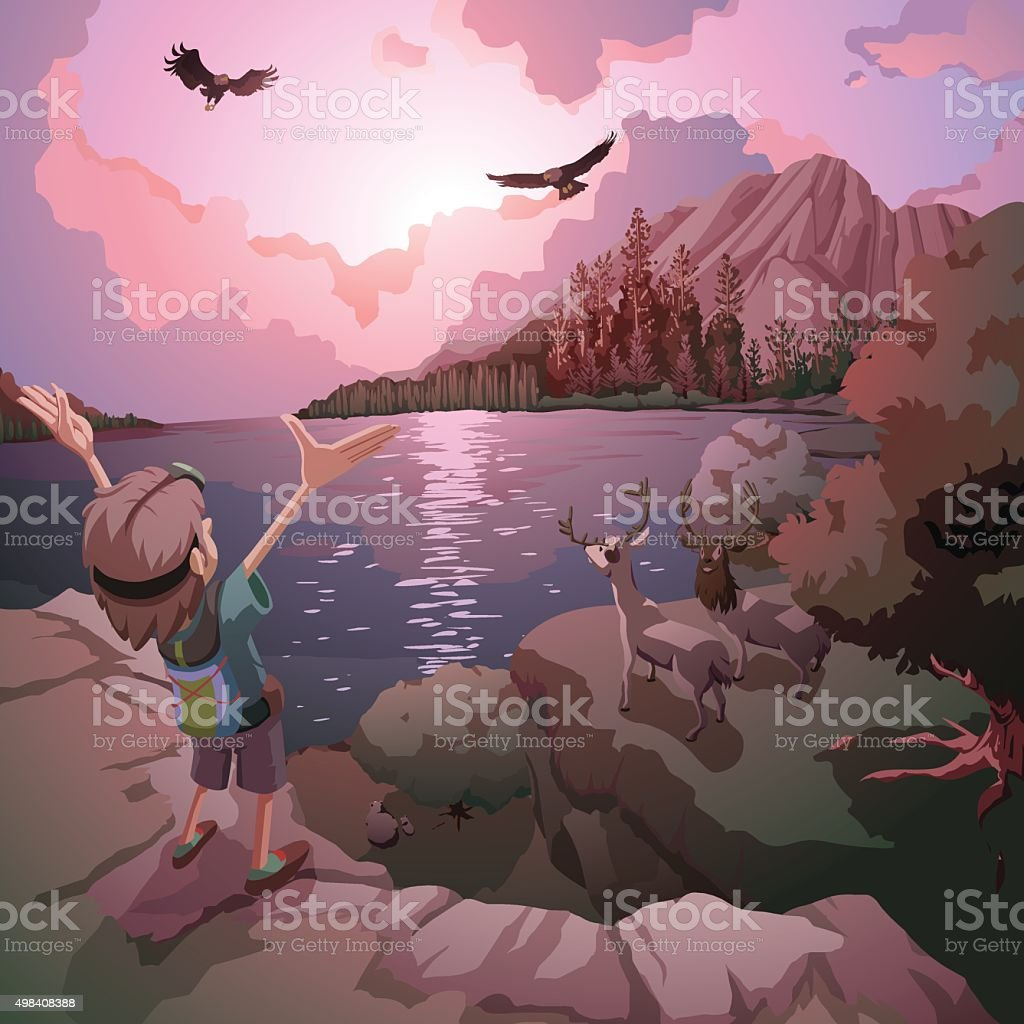 God's power and divine nature seen in the world vector art illustration