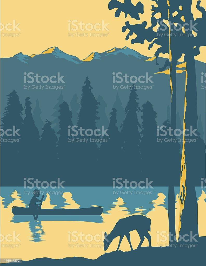 Going Canoeing vector art illustration