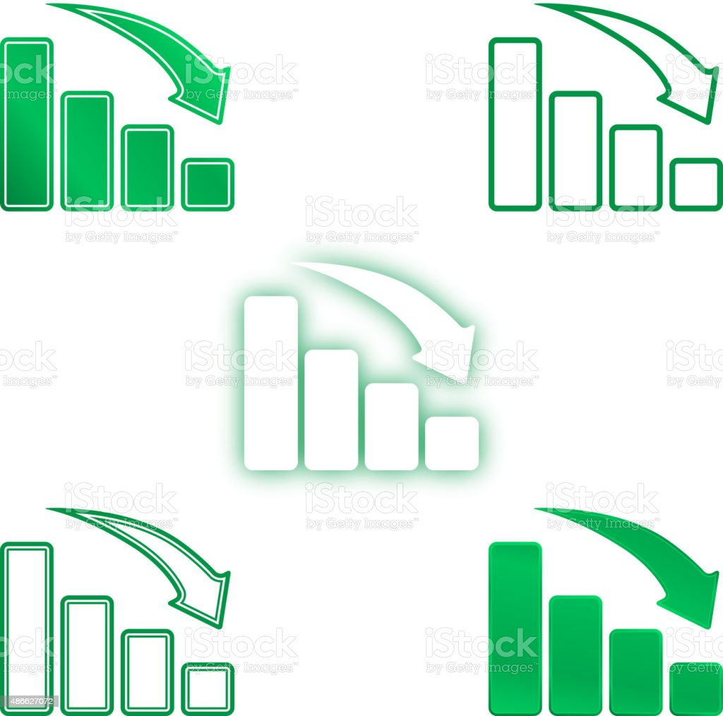 Going down bar chart vector art illustration