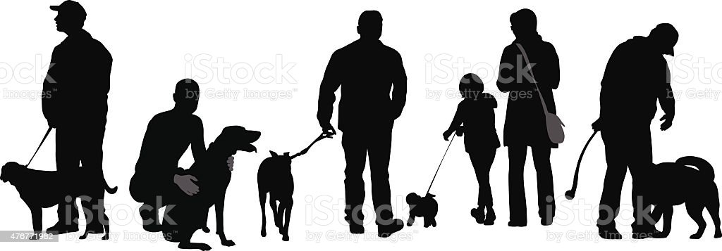 Going Out With My Dog vector art illustration