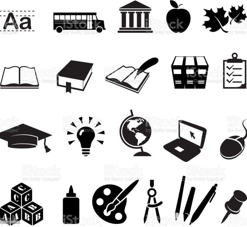Going school and education royalty free vector icon set royalty-free stock photo