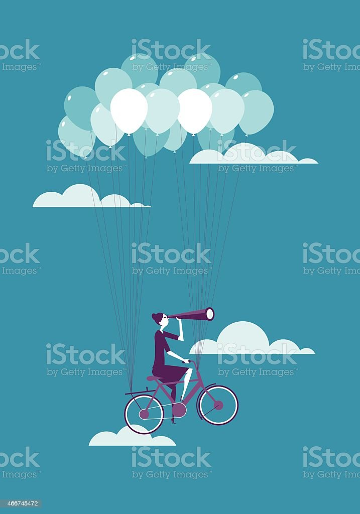 Going Up! Businesswoman Lifted by Balloons vector art illustration