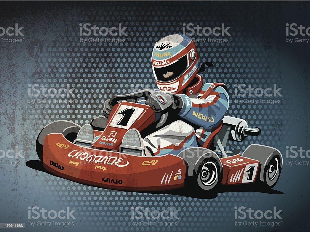 Go-Kart Racing Grunge Color vector art illustration