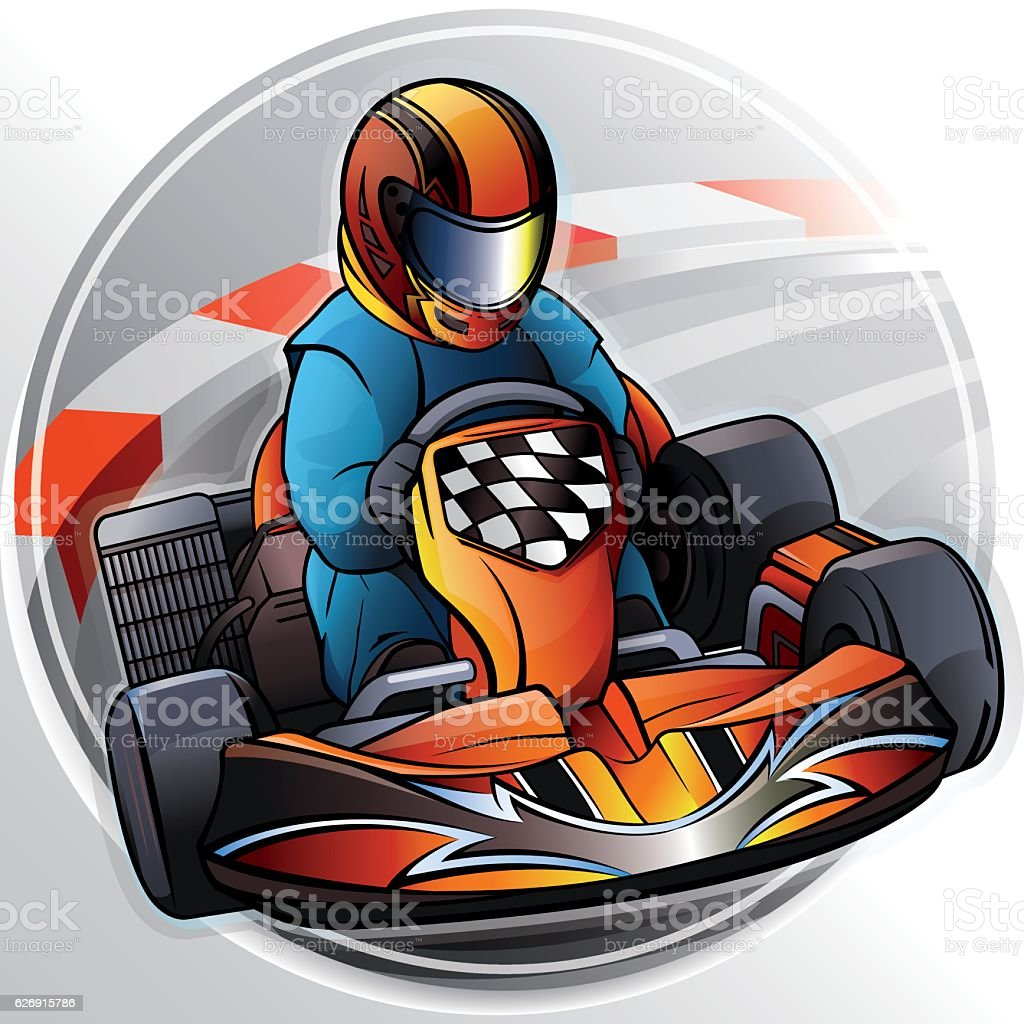 Go-Kart Racing vector art illustration