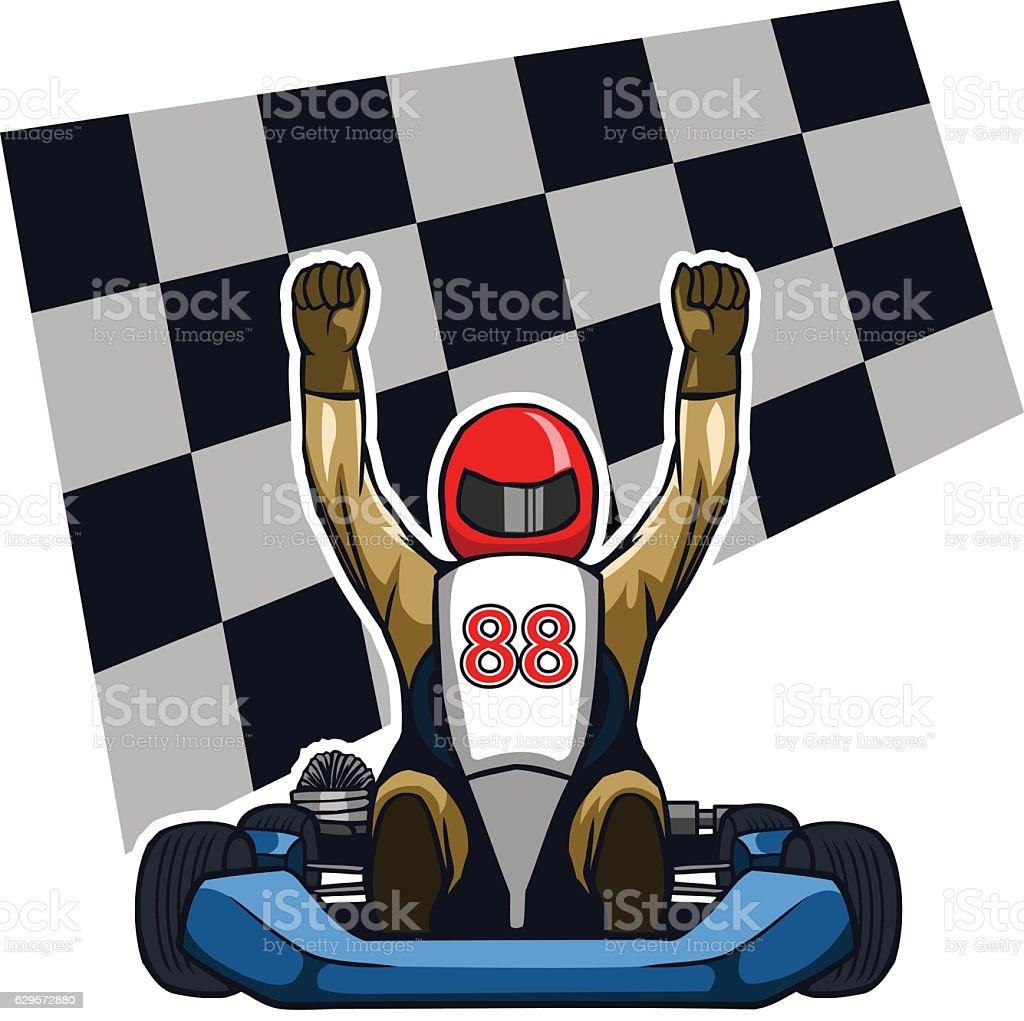 Gokart Winning Racer vector art illustration