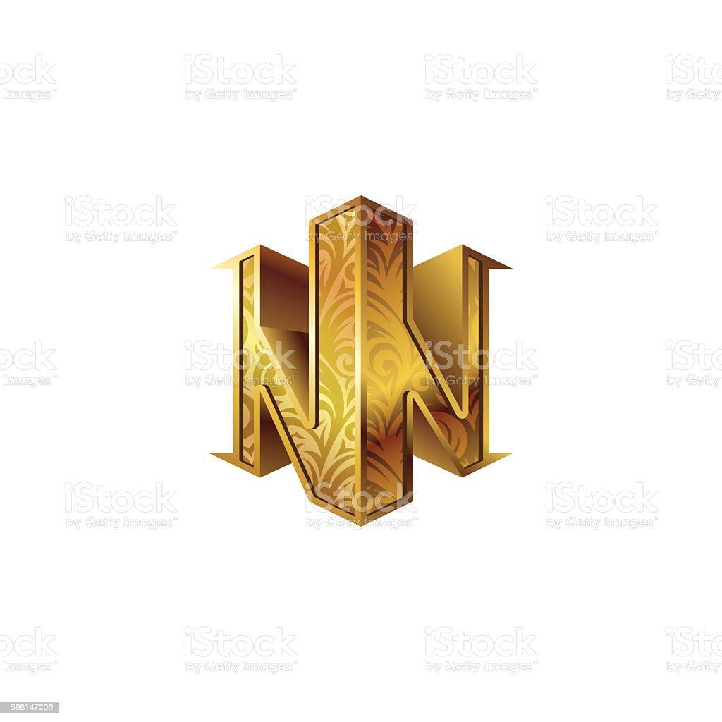 Gold 3d isometric monogram double letter N. vector art illustration