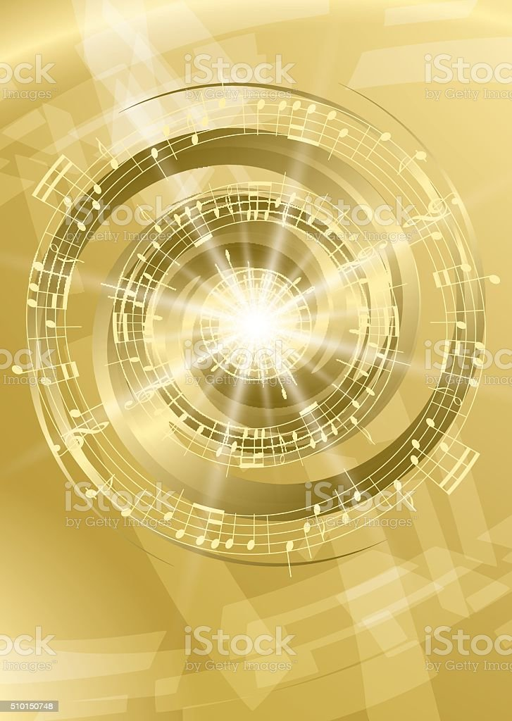 gold abstract music background - vector flyer vector art illustration