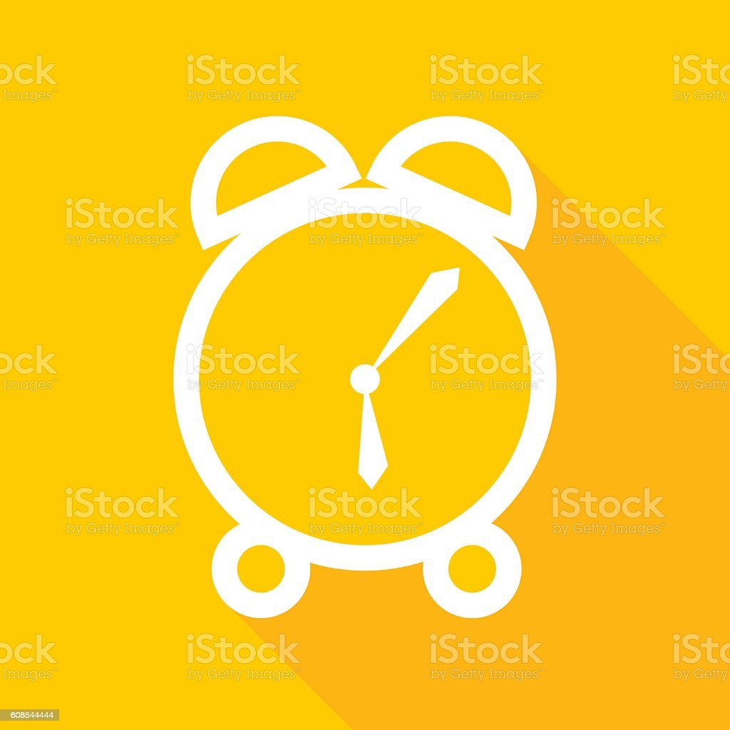 Gold Alarm Clock Icon vector art illustration