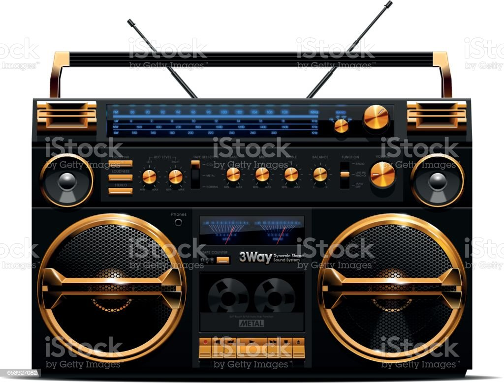 Gold and Black Boombox vector art illustration