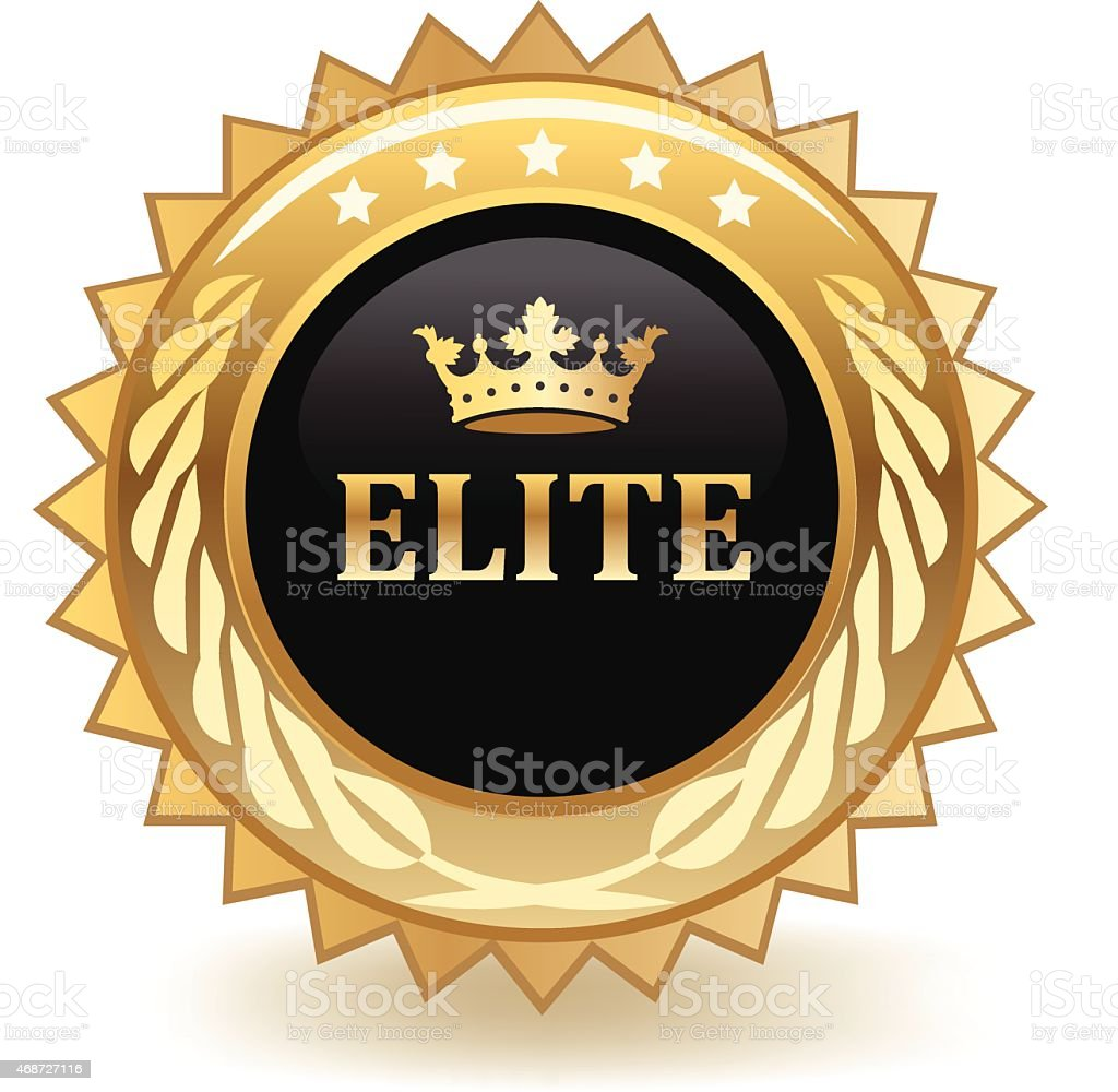 Gold and black elite medal that has a crown with stars vector art illustration
