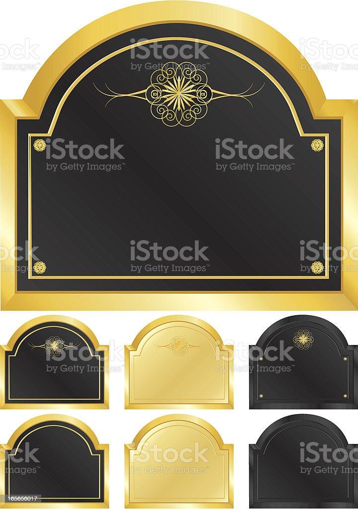 Gold und Schwarz Embleme und Zeichen-Set Lizenzfreies vektor illustration