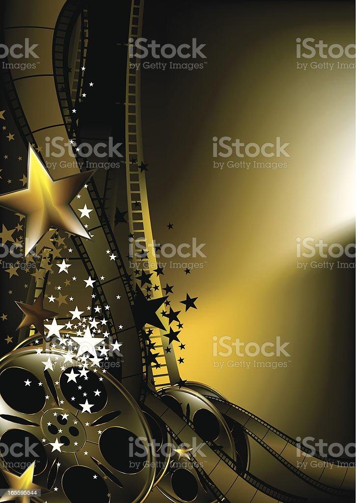 Gold and black film design background vector art illustration