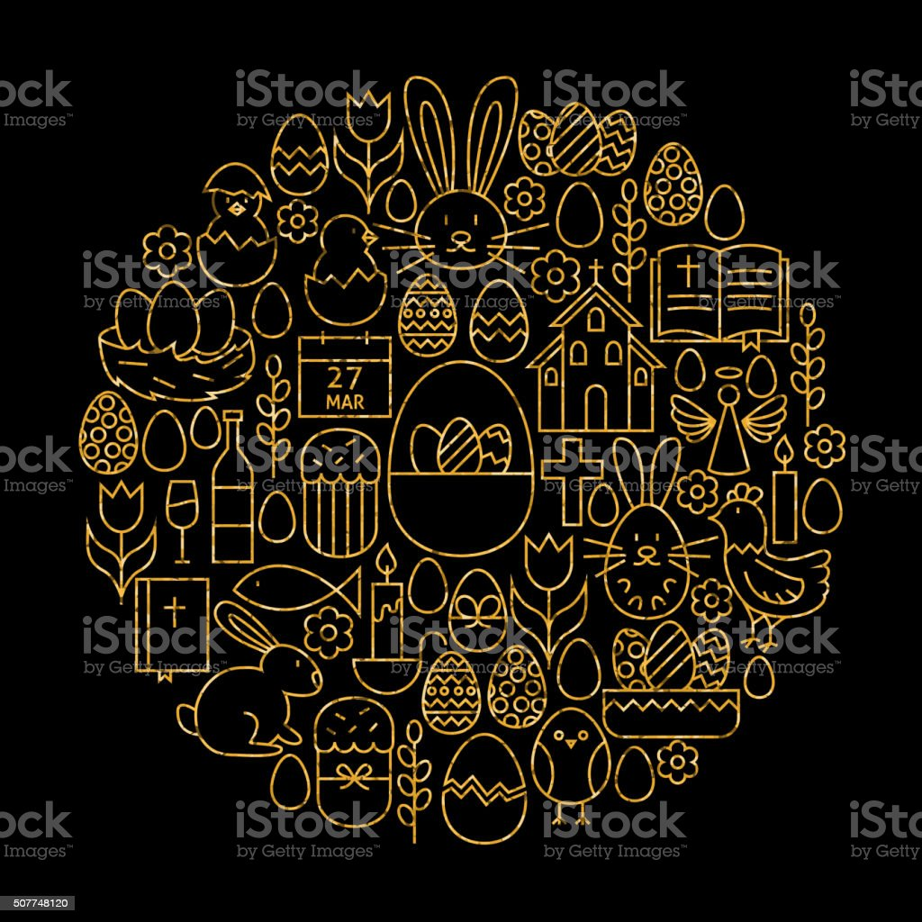 Gold and Black Happy Easter Line Icons Set Circle Shape vector art illustration