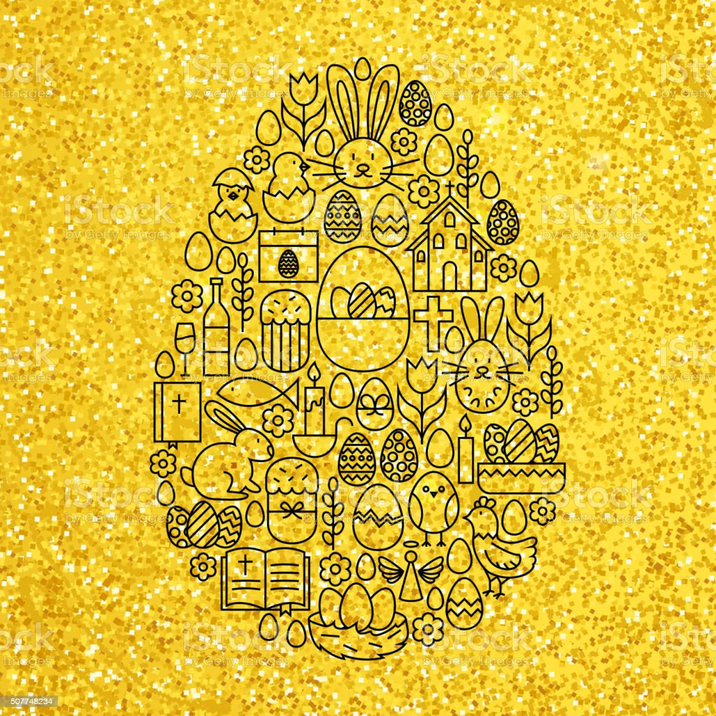 Gold and Black Happy Easter Line Icons Set Egg Shape vector art illustration