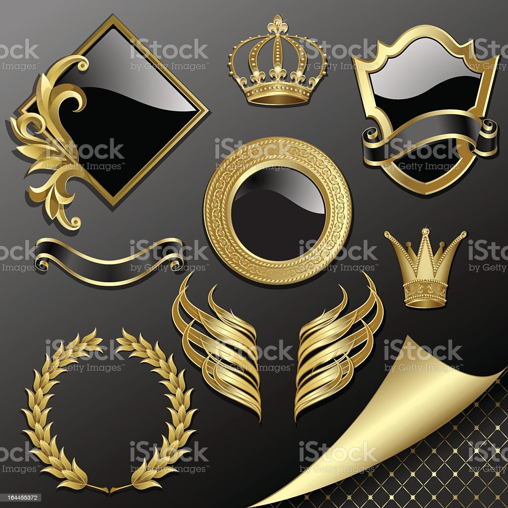Gold and black set of heraldic pieces royalty-free stock vector art