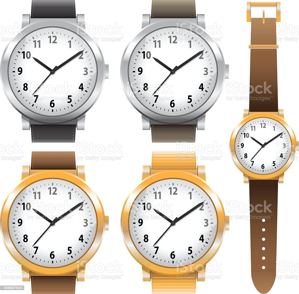 Gold and chrome watches classic design expensive watch set. Vector vector art illustration
