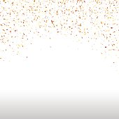 Gold and colorful falling confetti on a white background