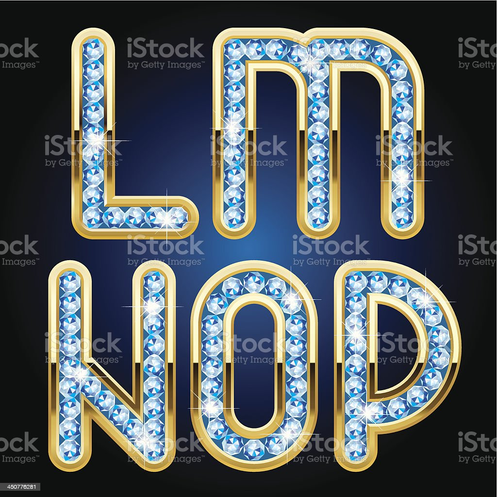 Gold and diamond alphabet letters vector art illustration
