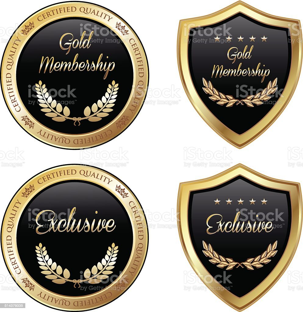 Gold And Exclusive Membership Emblems vector art illustration