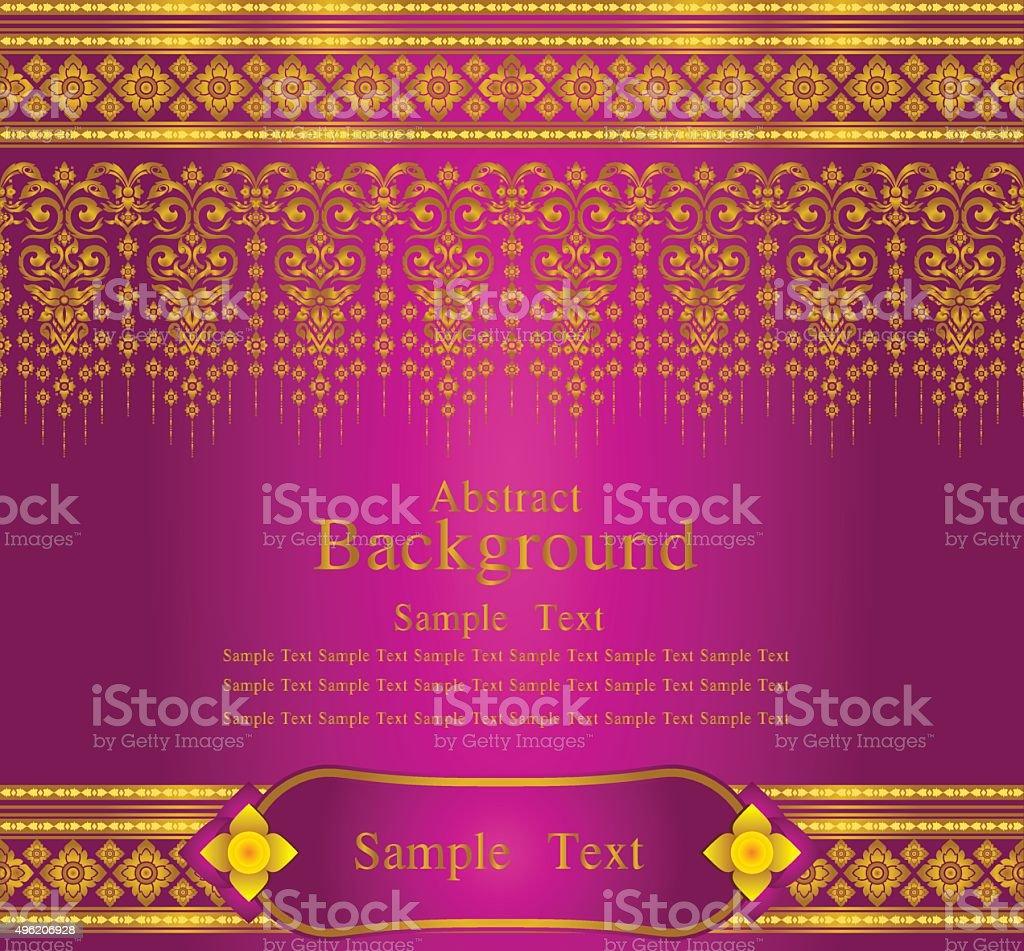 gold and magenta thai silk pattern line vector vector art illustration