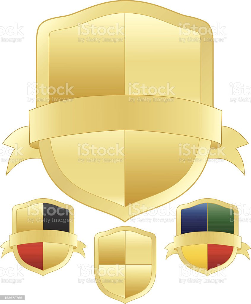 Gold und mehrfarbigem Shields-Set Lizenzfreies vektor illustration