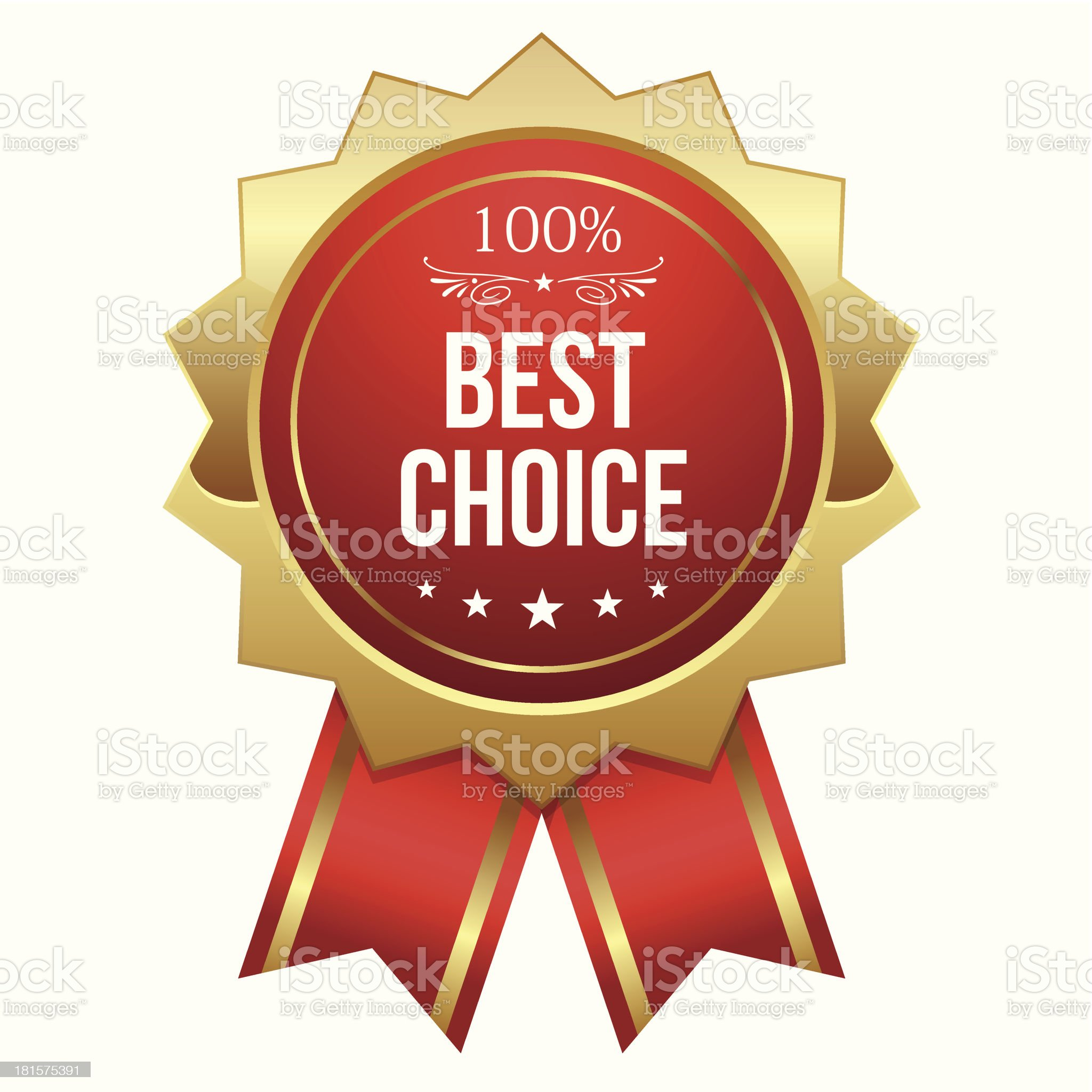 Gold and red best choice badge with ribbon royalty-free stock vector art