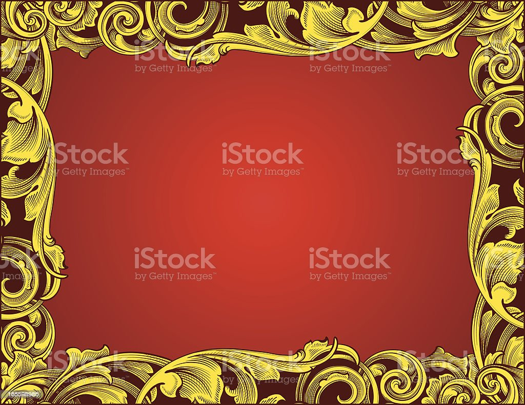 Gold and Red Blackleaf Border royalty-free stock vector art