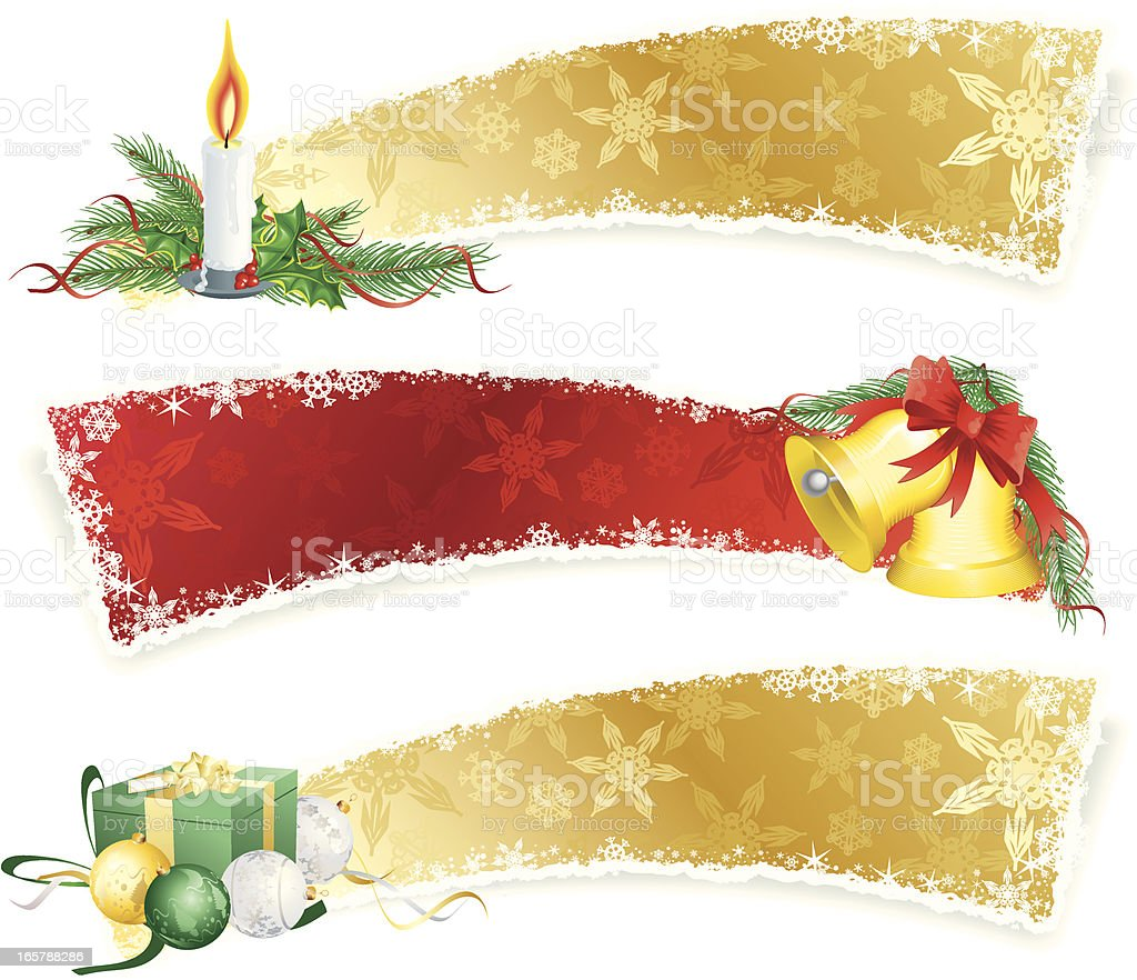 Gold and Red Christmas Banners Horizontal royalty-free stock vector art