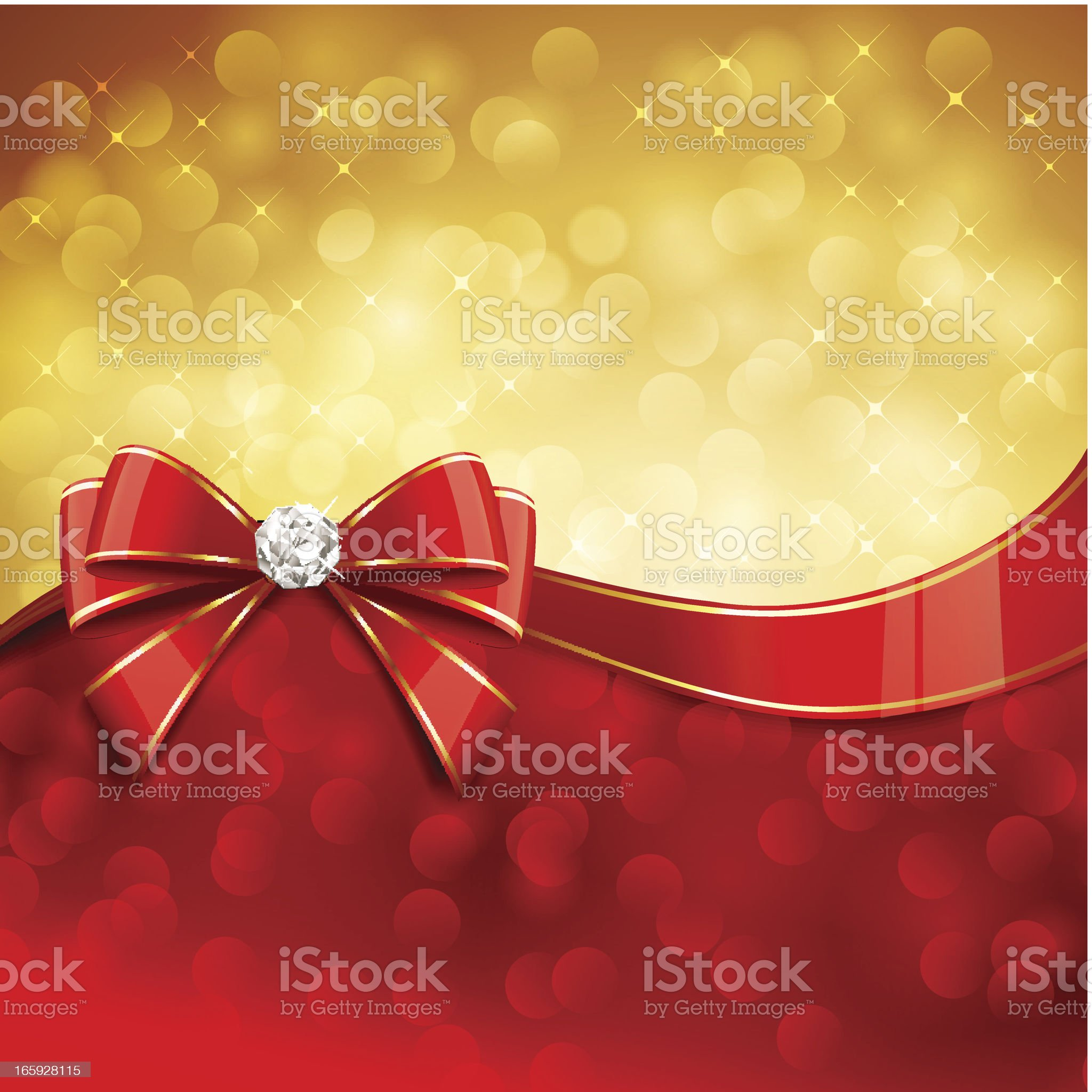 Gold and red Christmas bow with diamond background royalty-free stock vector art