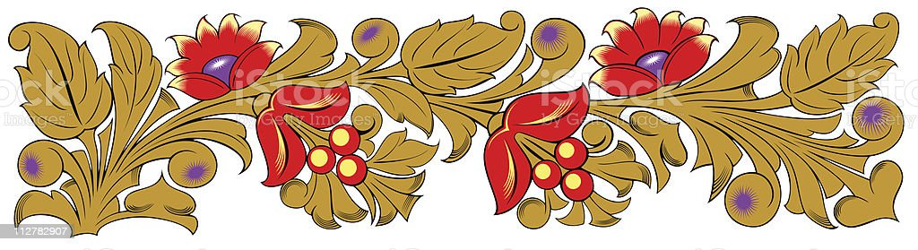 Gold and red floral ornament royalty-free stock vector art
