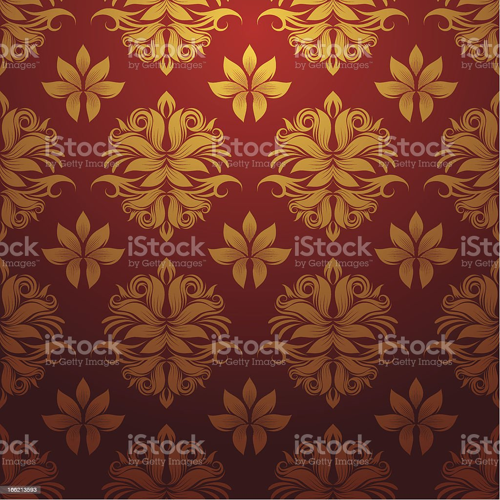 Gold and Red Pattern vector art illustration