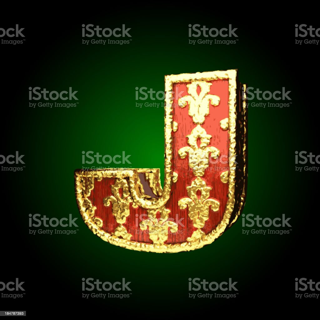 Gold and Red Wood Figure j royalty-free stock vector art