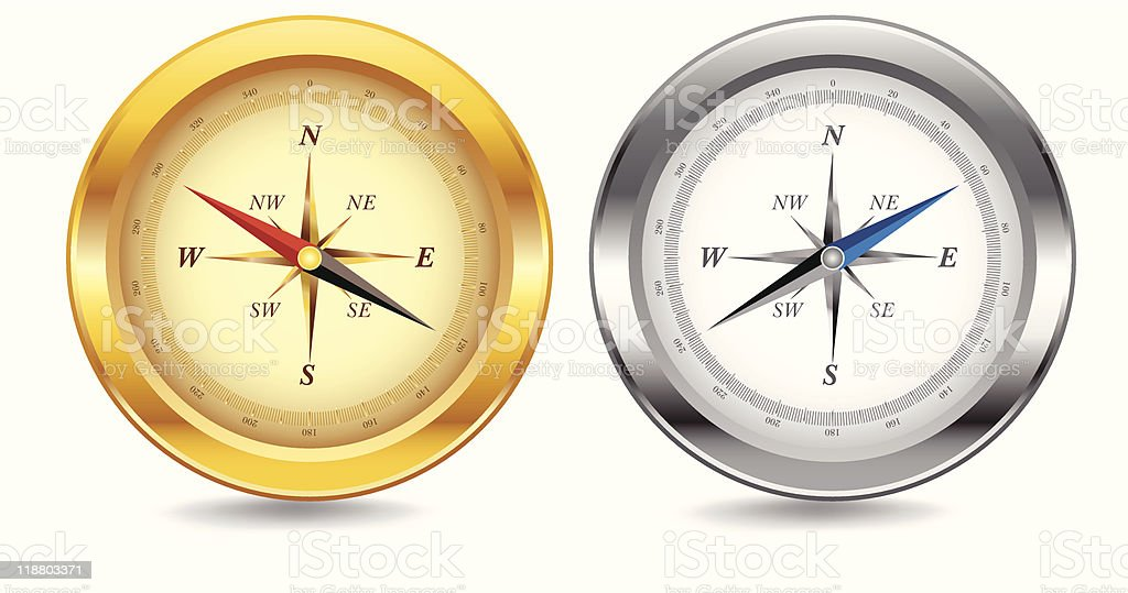 Gold and Silver Compasses royalty-free stock vector art