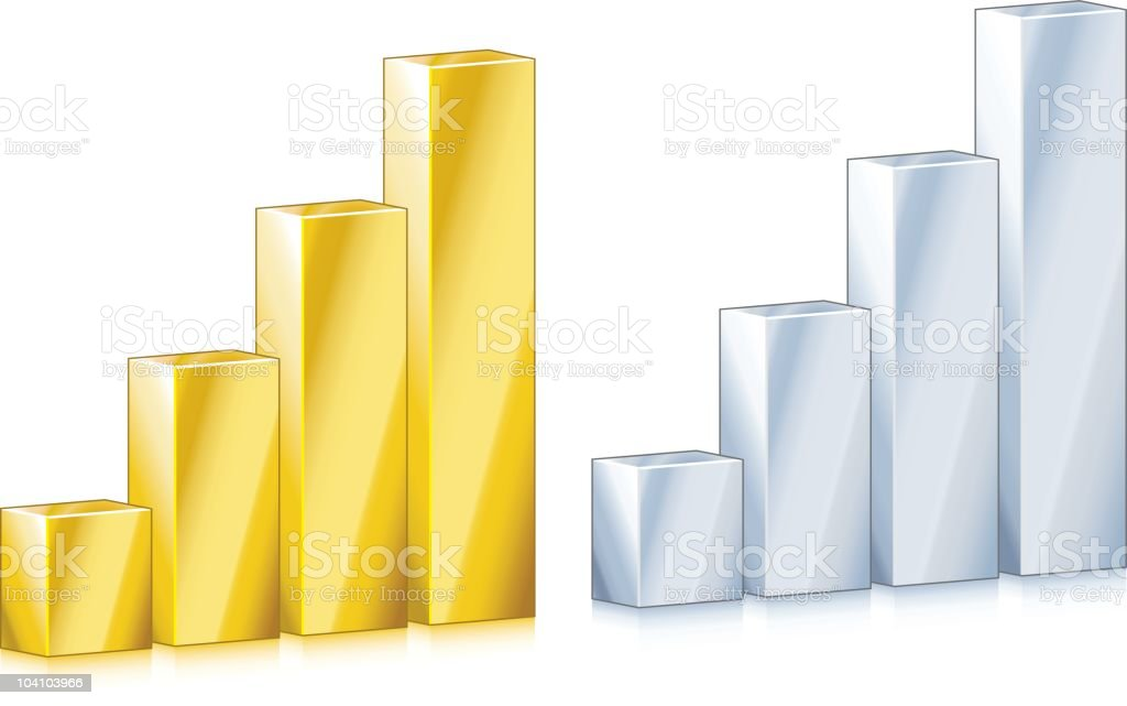 Gold and silver graph (isometric) royalty-free stock vector art